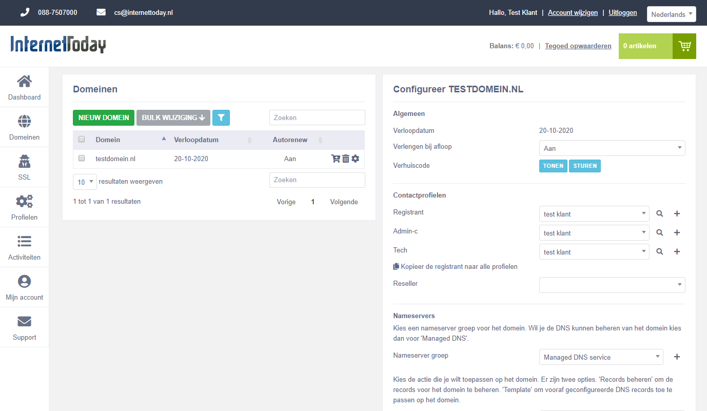 Domain overview portal